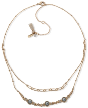 Gold-Tone Evil Eye Two-Row Necklace