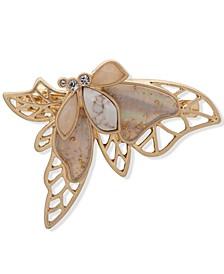 Gold-Tone Multi-Stone Filigree Butterfly Hair Barrette