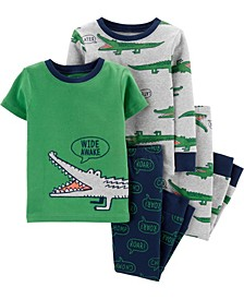 Toddler Boys Alligator Snug Fit Pajama, 4 Piece Set
