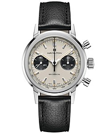 Men's Swiss Intra-Matic Chronograph H Black Leather Strap Watch 40mm