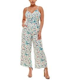 Floral-Print Wrap-Waist Wide-Leg Jumpsuit