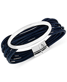Kenneth Cole New York Silver-Tone Blue Multi-Cord Bracelet