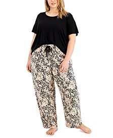 Plus Size Pajama T-Shirt & Knit Pajama Pants, Created for Macy's
