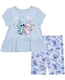 Little Girls Stitch Short Sleeve Tee and Legging Set
