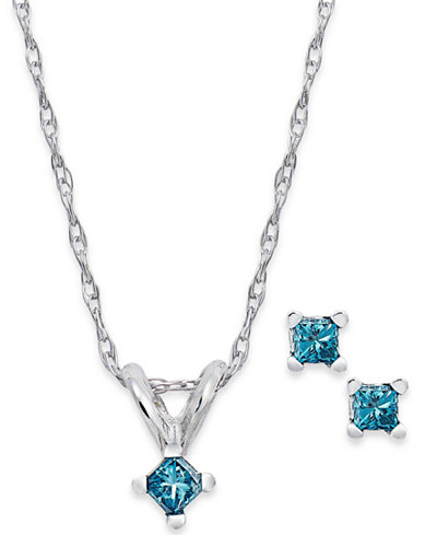 10k White Gold Blue Diamond Pendant Necklace and Stud Earrings Set (1/10 ct. t.w.)