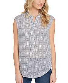 Printed Mandarin-Collar Sleeveless Shirt