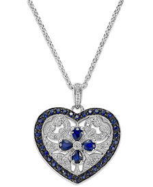 Sterling Silver Sapphire (1-7/8 ct. t.w.) and Diamond Accent Heart Pendant Necklace
