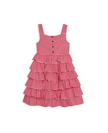Little Girls Stripe Tiered Dress with Printed Bow At Back