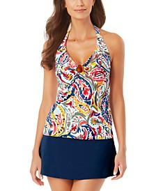 Paisley-Print Ring Halter Tankini Top & Classic Swim Skirt