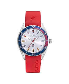 Men's N83 Analog Red Silicone Strap Watch 44 mm