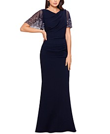 Beaded-Sleeve Gown