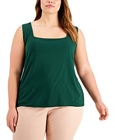 Plus Size Square-Neck Sleeveless Top, Created for Macy's