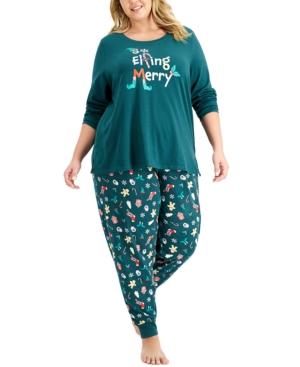 Women's Plus Elfing Merry Pajama Set