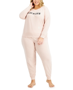 Women's Plus Crew Love Pajama Set