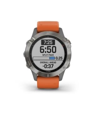 Unisex Fenix 6 Sapphire Ti Orange Silicone Strap Smart Watch 33.02mm