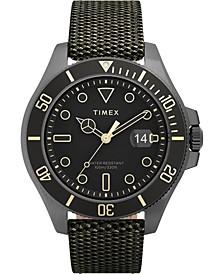 Men's Harborside Coast Green Fabric Strap Watch 43mm