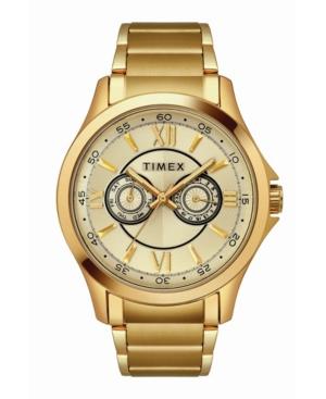 TIMEX TRADITIONAL MEN'S GOLD-TONE STAINLESS STEEL BRACELET WATCH 43.5MM