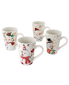 Holiday Snowman Cup Set of 4 Pieces