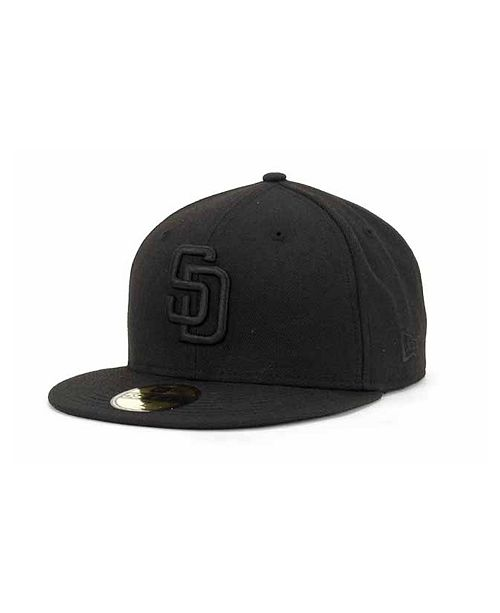 half off 2f3ce 58c5d ... New Era San Diego Padres Black on Black Fashion 59FIFTY Fitted Cap ...