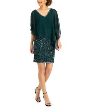 Asymmetrical-Overlay Embellished Dress