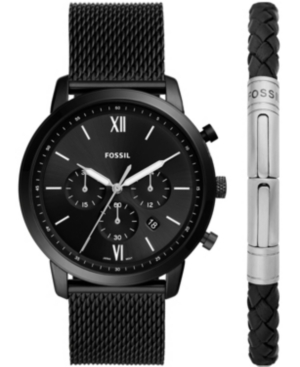 FOSSIL MEN'S NEUTRA CHRONOGRAPH MOVEMENT, BLACK LEATHER STRAP WATCH WITH MATCHING BLACK LEATHER BRACELET, 4