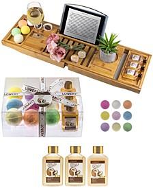 Vanilla Coconut Bathtub Caddy Gift Set, 13 Piece