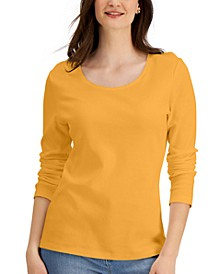 Petite Long Sleeve Cotton Scoop-Neckline Top, Created for Macy's