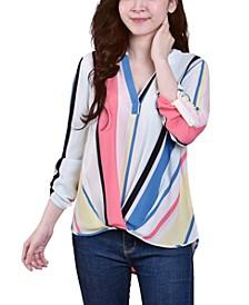 Women's 3/4 Push Tab Mandarin Collar Blouse with Front Pleats