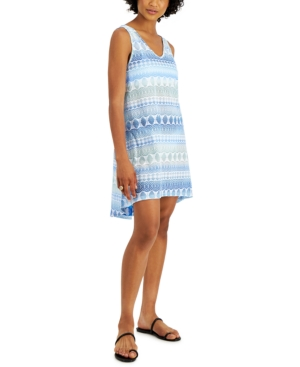Printed High-Low Tank Cover-Up Dress Women's Swimsuit