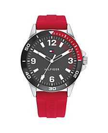 Men's Red Silicone Strap Watch 44mm