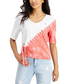 Cotton Tie-Dye-Print Side-Tie Top