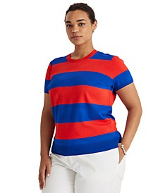 Plus-Size Striped Short-Sleeve Sweater