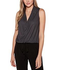 Black Label Polka Dot Open Collar Sleeveless Wrap Top