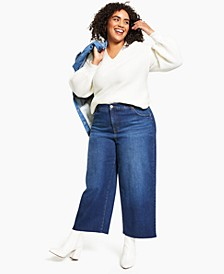 Plus Size Cropped Wide-Leg Jeans, Created for Macy's