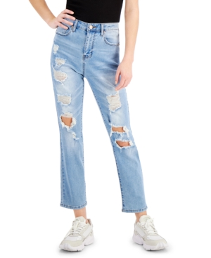 Juniors' Ripped Straight-Leg Jeans