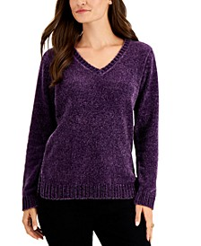 Petite Chenille V-Neck Sweater, Created For Macy's