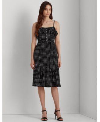 로렌 랄프로렌 Lauren Ralph Lauren Polka-Dot Crepe Dress,Black/colonial Cream