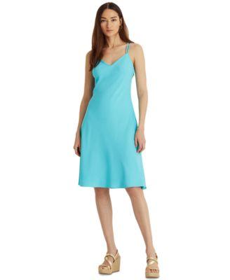 로렌 랄프로렌 Lauren Ralph Lauren V-Neck A-Line Dress,Capri Water