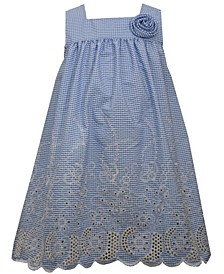 Toddler Girls Embroidered Border Button Back Sundress