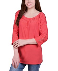 Petite Elastic Neck Tunic with Sleeve Cut-outs