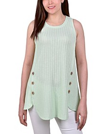 Petite Sleeveless Ribbed Tank with Buttons