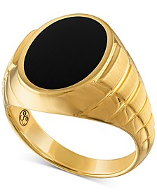 Onyx Signet Ring in 14k Gold-Plated Sterling Silver, Created for Macy's