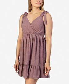 Juniors' Tie-Shoulder Clip-Dot Dress