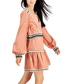 Petite Contrast-Trim Peasant Dress, Created for Macy's