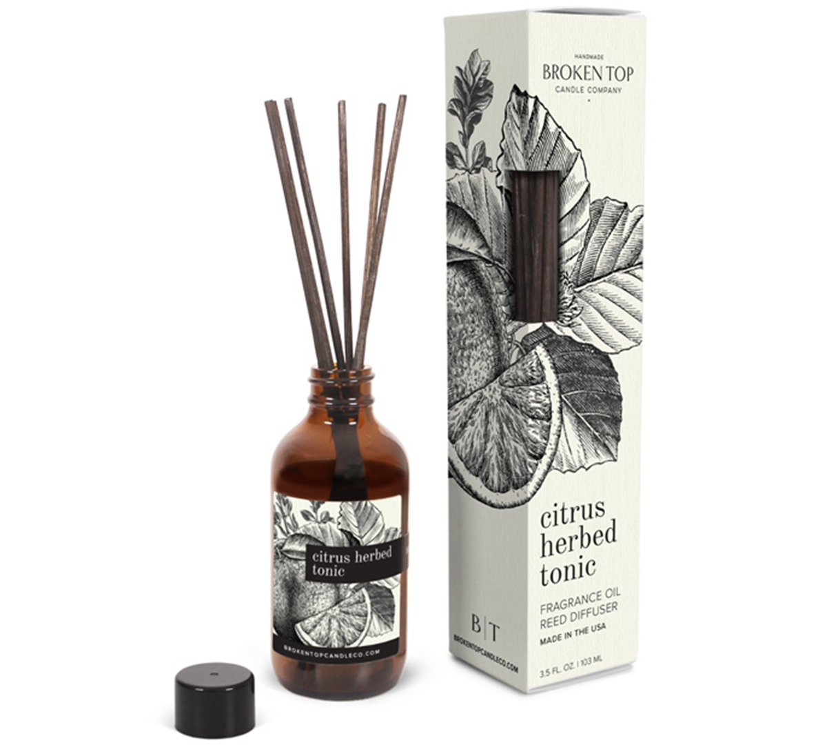 Citrus Herbed Tonic Fragrance Oil Reed Diffuser, 4 oz.
