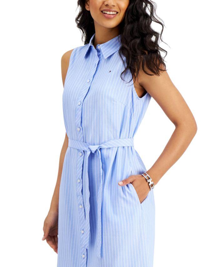 Tommy Hilfiger Striped Sleeveless Button-Down Dress & Reviews - Dresses - Women - Macy's
