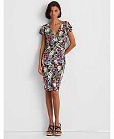 Petite Floral Flutter-Sleeve Surplice Dress