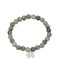 Fine Silver Plated Genuine Stone Crystal Elephant Stretch Bracelet