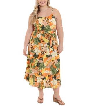 Plus Size Braided-Straps Tiered Maxi Dress