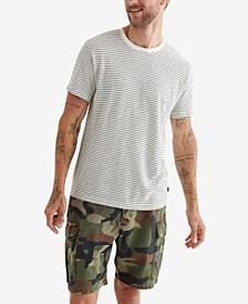 Men's Linen Stripe Crew Short Sleeves T-shirt